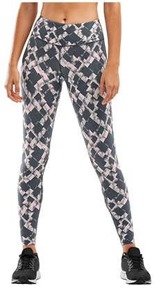 2XU Fitness Print Compression Tights (Textured Blossum Check/White) Women's Casual Pants