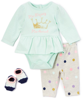 Vitamins Baby Green & Taupe 'Her Majesty' Bodysuit Set - Infant