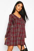 boohoo Petite Ruffle Hem Check Smock Dress