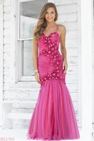 Blush Lingerie Floral Embellished Pleated Mermaid Gown 9335