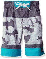 Big Chill Big Boys Shark Color Block Swim Trunk Rashguard