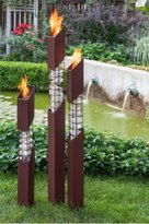 Mason Torches 3-pack Constructed of Heavy Gauge, Welded Steel and Natural Stone. 6 Pack of SunJel Fuel, Perfect For Any Season of The Year, Designed and Built in The USA, 7 inch flame.