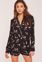 Missguided Style Floral Blazer Black