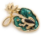 Avalaya Small 'Frog On The Lotus Leaf' Brooch In Plated Metal - 4.5cm Length