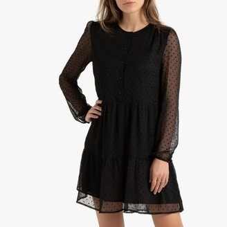 Short Printed Full Dress with Long Puff Sleeves