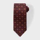 Paul Smith Men's Burgundy 'Diamond Floral' Motif Narrow Silk Tie