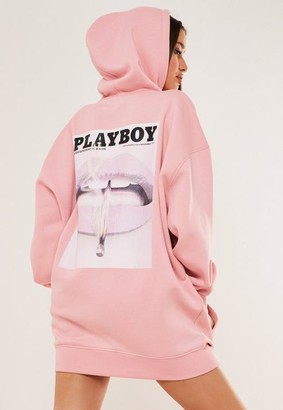 Missguided Playboy X Tall Pink Graphic Print Hoodie Sweater Dress