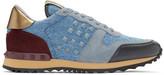 Valentino Blue Denim Rockstud Sneakers