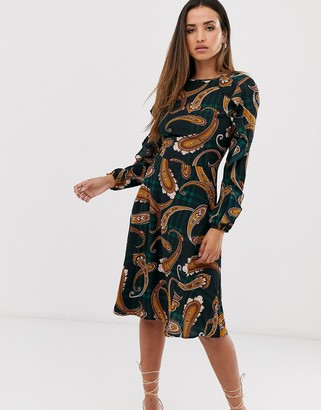 AX Paris plaid paisley long sleeve midi dress-Multi