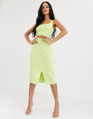 4th + Reckless knitted pencil skirt with belt detail in lime