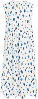Marni Gathered Floral-print Cotton-poplin Midi Dress