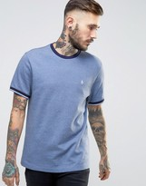 Original Penguin Pique Ringer T-Shirt Slim Fit in Navy