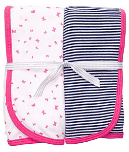 Carter's Baby Girls' Pink/Navy 2-pk. Swaddle Blankets