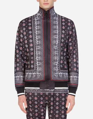 Dolce & Gabbana Zip-Up Sweater In Bandana Print