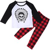 Lestore Baby Boys Long Sleeve Cartoon T-shirt & Plaid Pants 2pcs Sets