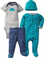 Gerber 4-Piece Dinos Sleep N' Play, Onesies® Bodysuit, Pant, and Cap Set in Green