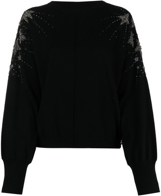 Patrizia Pepe Star Crystal-Embellished Studded Jumper
