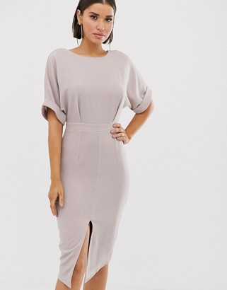 Asos Design DESIGN wiggle midi dress-Grey