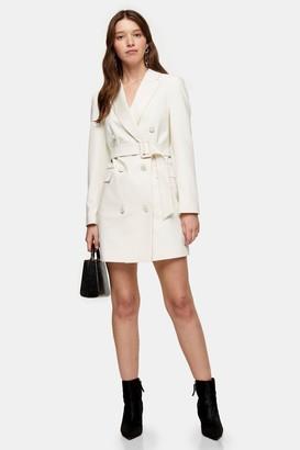 Topshop Womens Ivory Tuxedo Blazer Dress - Ivory