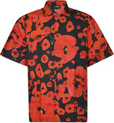 Les Hommes Short-sleeved All-over Poppies-boxy Fit Shirt