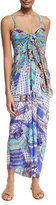 Camilla Printed Tie-Front Silk Coverup, Divinity Dance