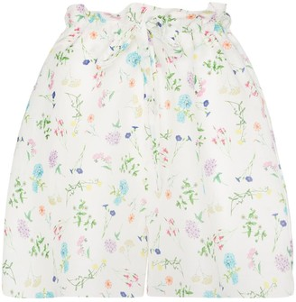 Paper London Wild Card floral paper bag shorts