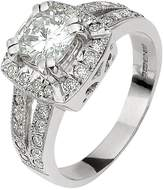 Moissanite 18 CT WHITE GOLD 185 POINTS CUSHION SET RING WITH STONE SET SHOULDERS