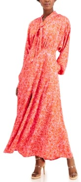 INC International Concepts Inc Printed Tie-Neck Maxi Dress, Created for Macy's