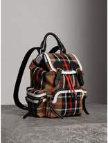 Burberry The Small Rucksack in Check Cotton and Leather