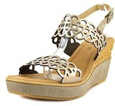 Azura Nicola Women Open Toe Leather Gold Wedge Sandal.