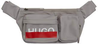 HUGO Grey Logo Multi-Pocket Belt Bag