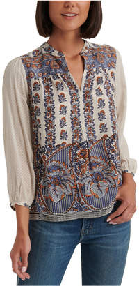 Lucky Brand Rami Printed Peasant Top