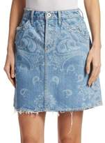Jonathan Simkhai Printed Denim Mini Skirt
