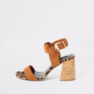 River Island Womens Brown cork block heel wide fit sandals