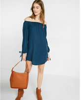 Express petite denim off the shoulder trapeze dress