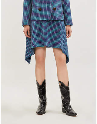 See by Chloe Dark Blue Checked Woven Mini Skirt