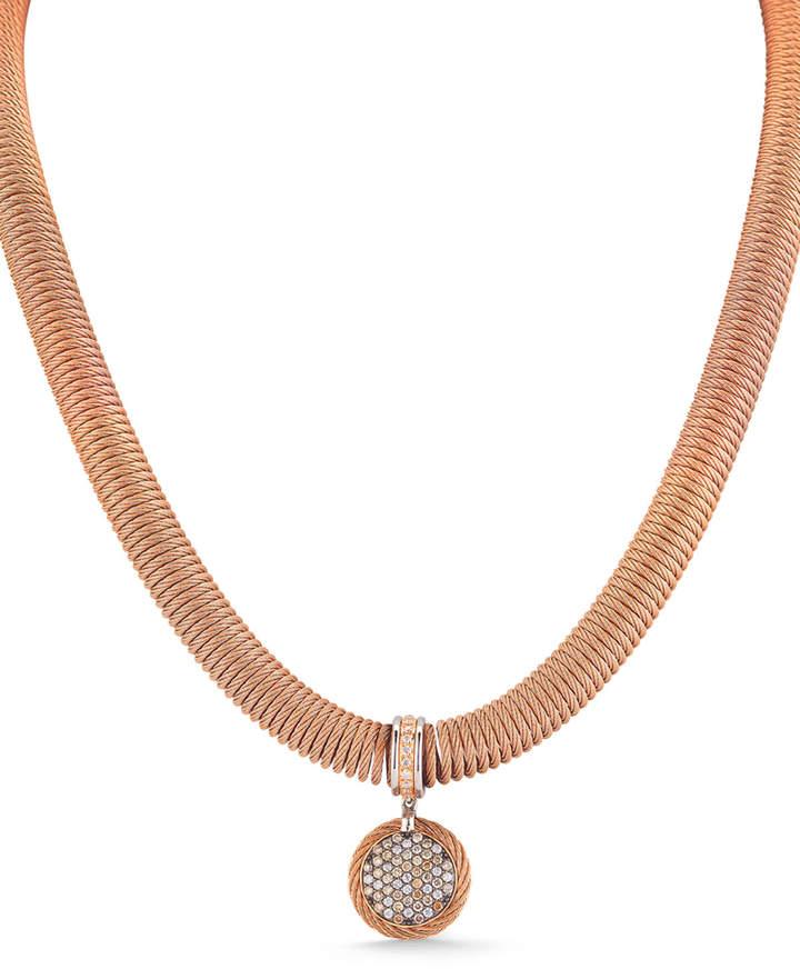 Alor 18k Spring Coil Diamond Pendant Necklace