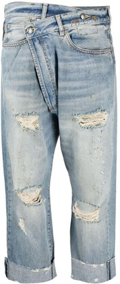 R 13 Distressed-Finish Straight-Leg Jeans