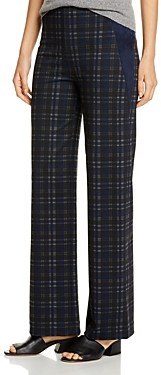 Lysse Ellis Faux-Suede Trim Plaid Pants