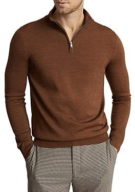 Reiss Blackhall Wool Funnel Neck Half Zip Sweater