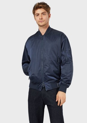Emporio Armani Satin Bomber With Logo Embroidery