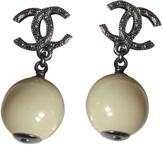 Chanel CC Grey Pearl Earrings