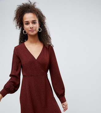 Bershka polka dot tea dress-Brown