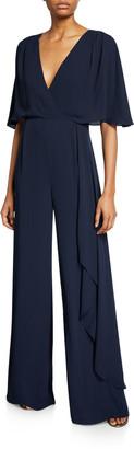 Halston V-Neck Flowy-Sleeve Georgette Jumpsuit w/ Asymmetric Drape