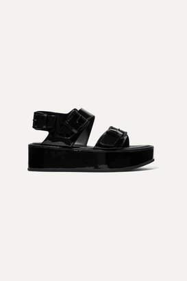 Ann Demeulemeester Buckled Patent-leather Platform Sandals - Black