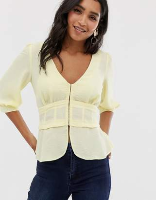 Asos Design DESIGN v neck corset detail top with 3/4 sleeve-Yellow