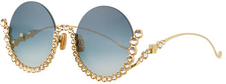 Karlsson Anna Karin Full Moon Semi-Rimless Round Sunglasses w/ Crystal Trim