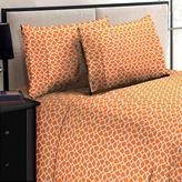 Home Dynamix Jill Morgan Fashion Printed Geo Orange-White Microfiber Full Sheet Set (4-Piece)