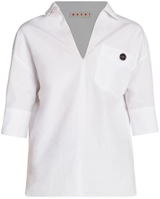 Marni Collared Poplin V-Neck Polo Shirt