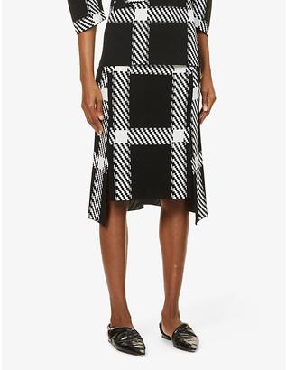 Stella McCartney Lumberjack-print high-waist stretch-knit midi skirt